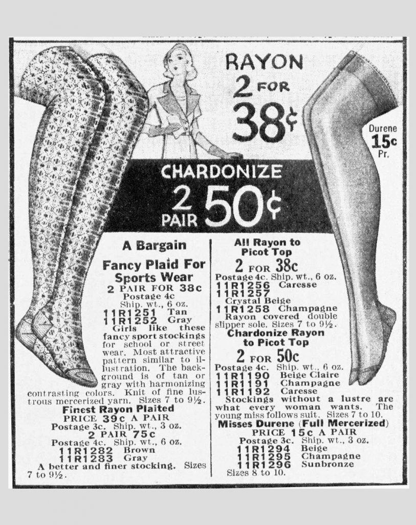 vintage rayon stocking ad fashion history