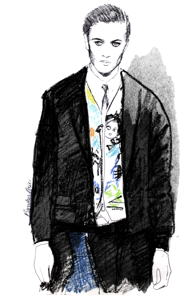 Lucky Blue Smith DSquared AW2016 Fashion Illustration