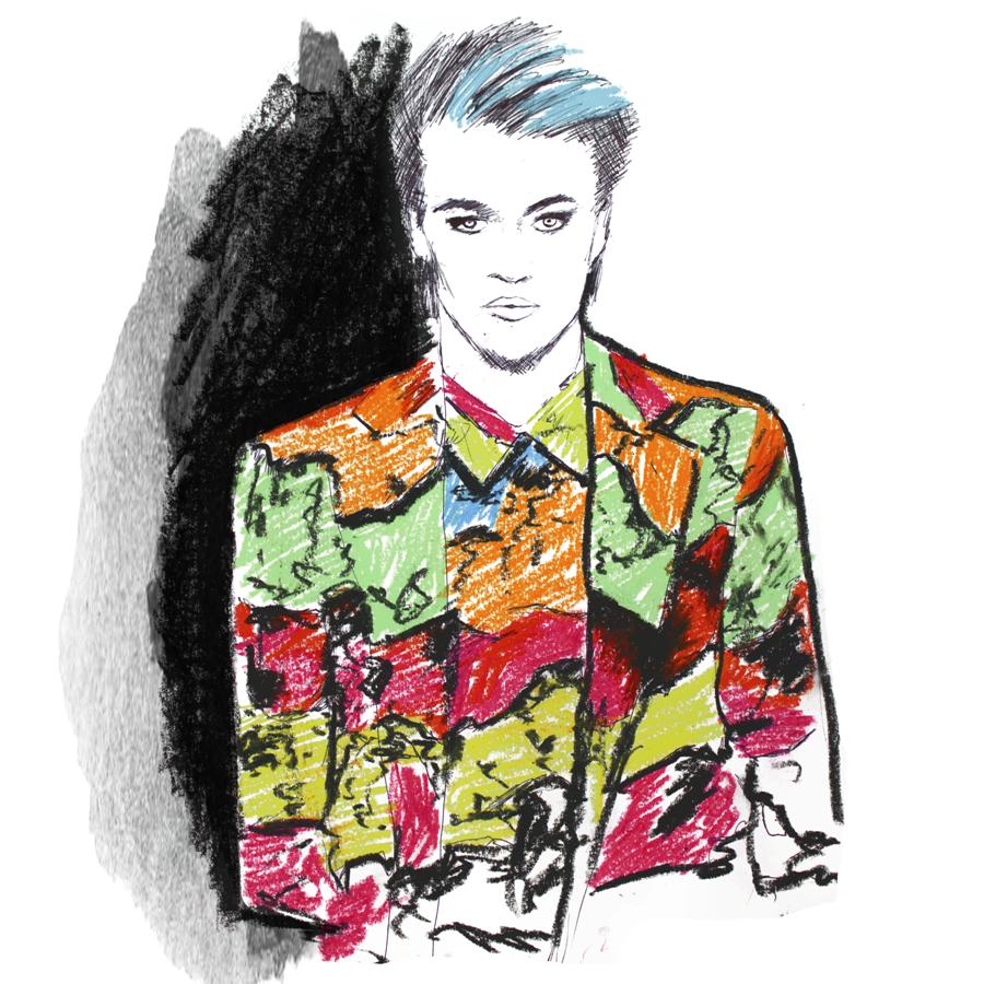 Lucky Blue Smith Moschino AW2016 Fashion Illustration