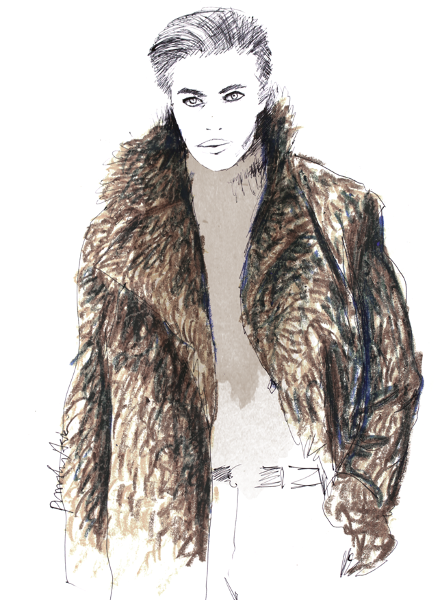 Lucky Blue Smith Ralph Lauren AW2016 Fashion Illustration