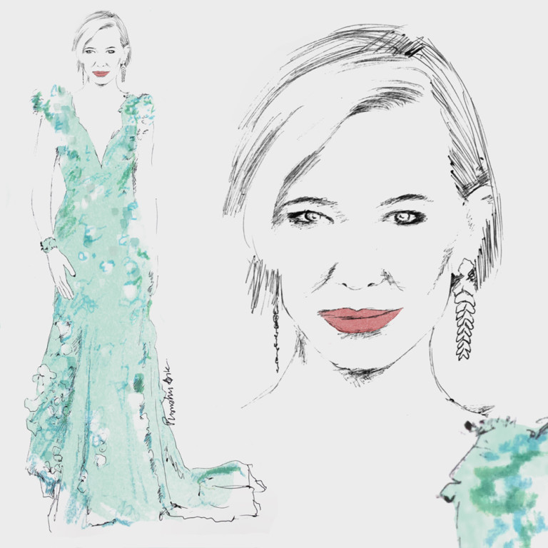 Fashion Illustration - Cate Blanchett Oscars 2016