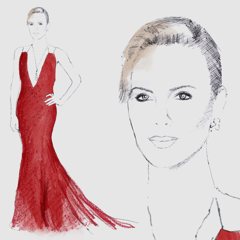 Fashion Illustration - Charlize Theron Oscars 2016