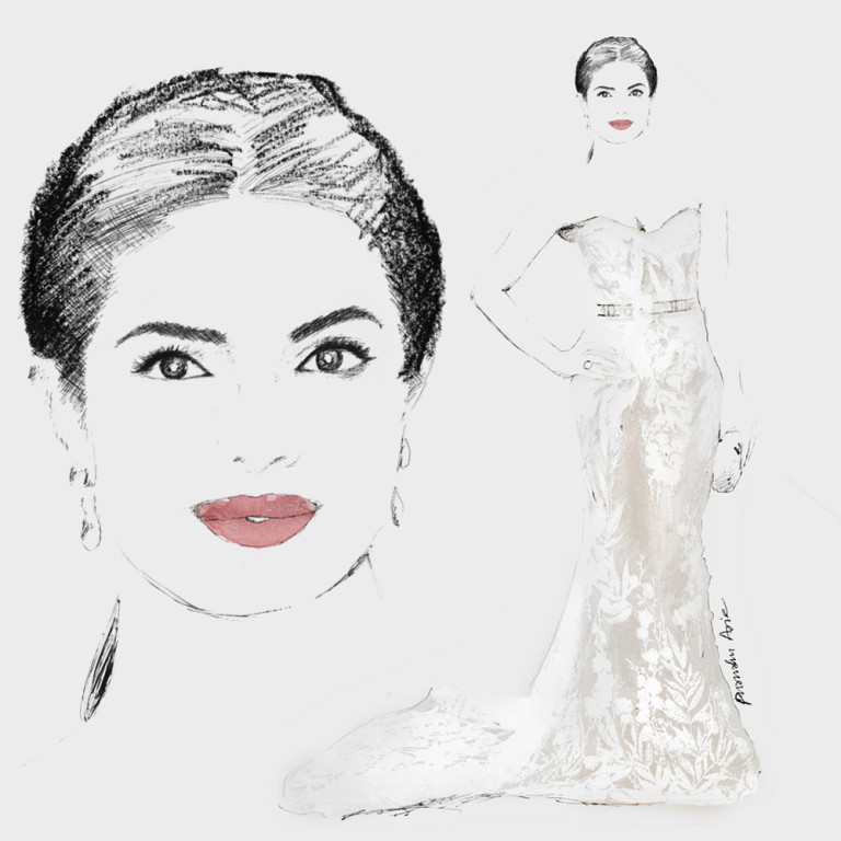 Fashion Illustration - Priyanka Chopra Oscars 2016