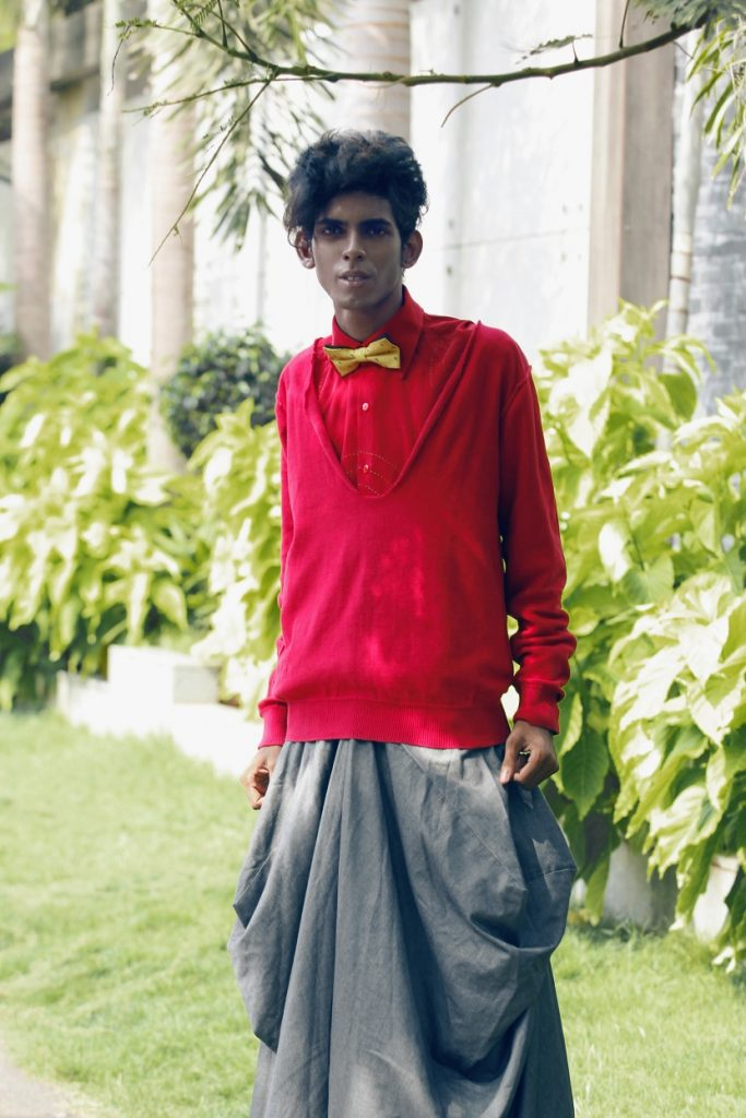 Purushu Arie red shirt grey grousers gender neutrla men's street style indian fashion blogger