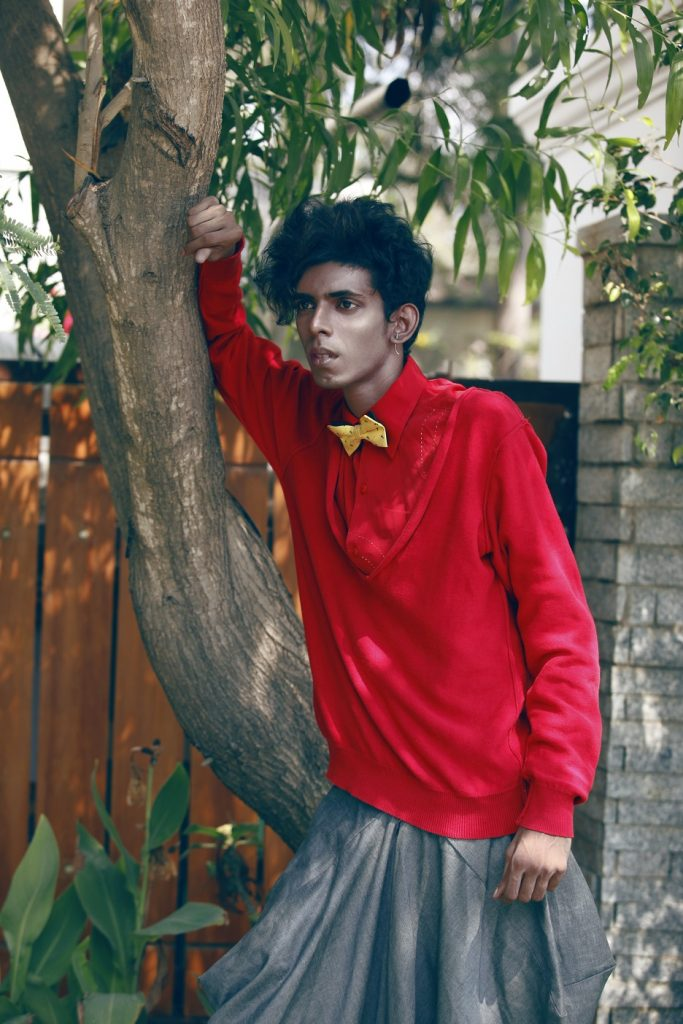Purushu Arie Red Shirt Grey Trousers Gender neutral Mens Street style Indian Fashion blogger