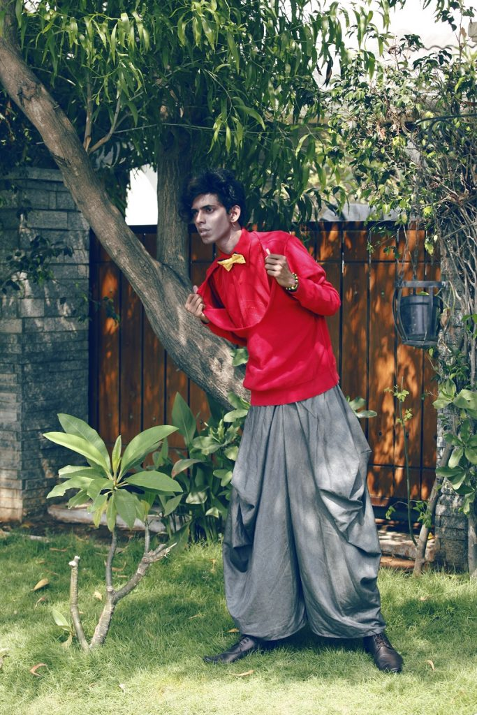 Purushu Arie red shirt grey trousers gender neutral men's street style indian fashion blogger