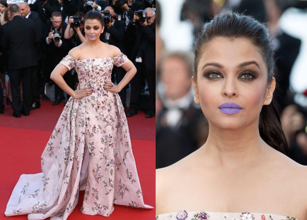 Aishwarya Rai wearing lavender lipstick at Cannes 2016