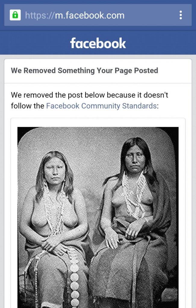 Image of Native American Women in summer dress, removed by Facebook.