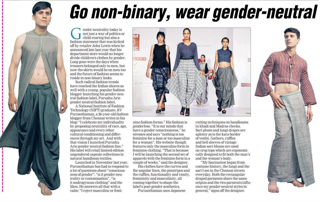 The Telegraph - Purushu Arie Gender Neutral Fashion