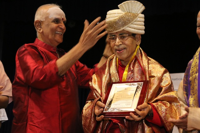 Carnatic music guru Chitravina Narasimhan honoured with ponnadai.