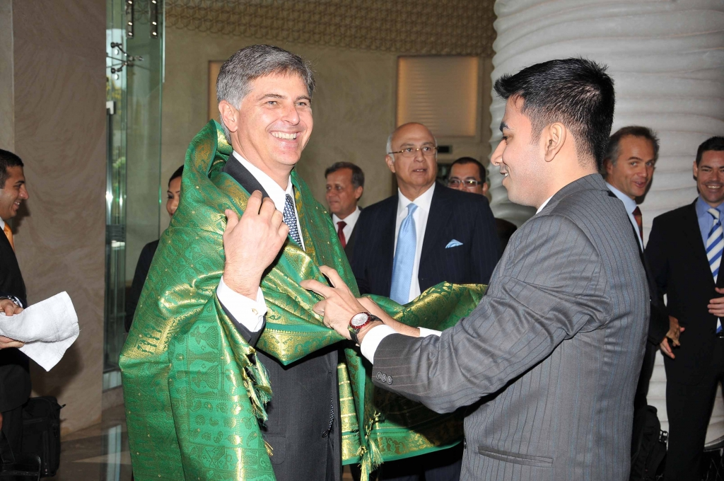 Christopher J. Nassetta, president and CEO, Hilton Worldwide with the Ponnadai to honor dignitaries at Hilton Chennai.