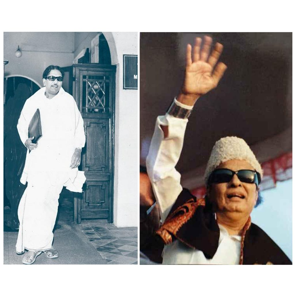 "Kalaignar Karunanidhi (left) & MGR (right) wearing ""thundu"" - The Dravidian political iconography of protest against casteism & elitism. Image: Frontline & Outlook"