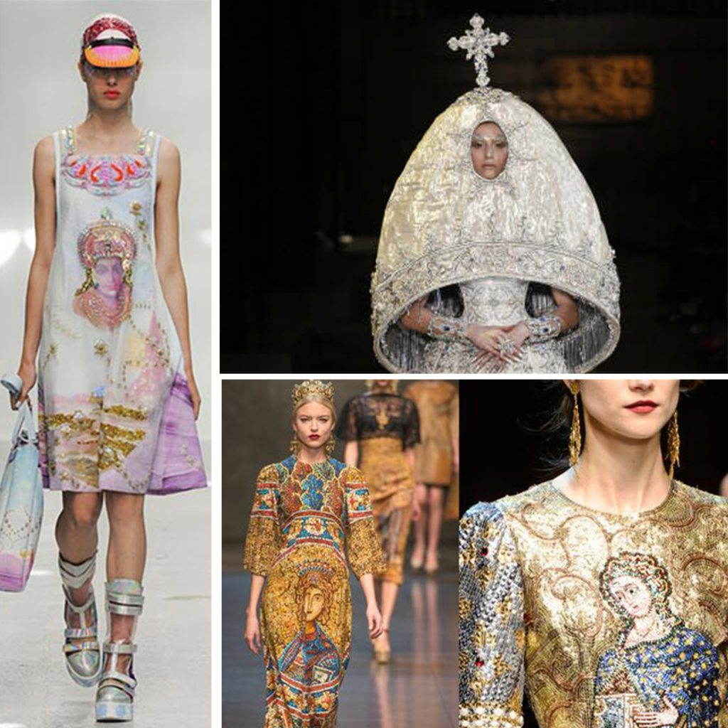 Religion on Runway - Left: Lord Krishna at Manish Arora, Right (top): Guo Pei Haute Couture, Right (bottom): Dolce & Gabbana