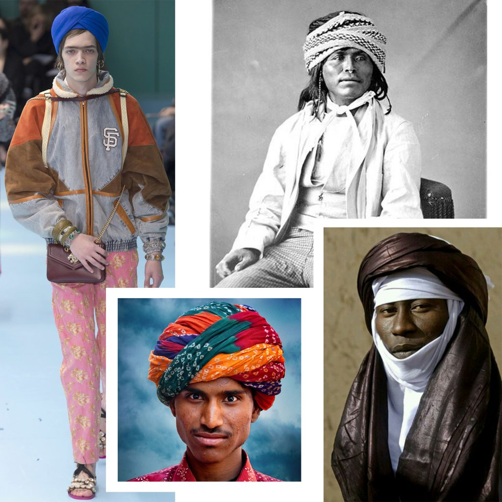 Turbans from myriad of cultures: (Clockwise) Sikh turban at Gucci FW18, Native American turban, African turban, Indian-Kutch style turban.