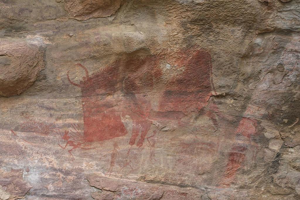 Bhimbetka cave painting, Madhya Pradesh, Neolithic Age