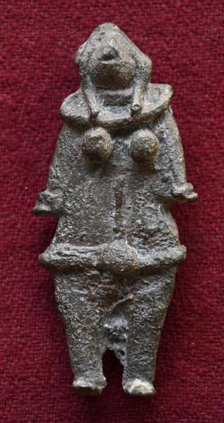 Palm sized bronze Mother Goddess figurine dating 1500 BCE excavated from the archaeological site at Adhichanallur, located along the Tamirabarani river in Thoothukudi district