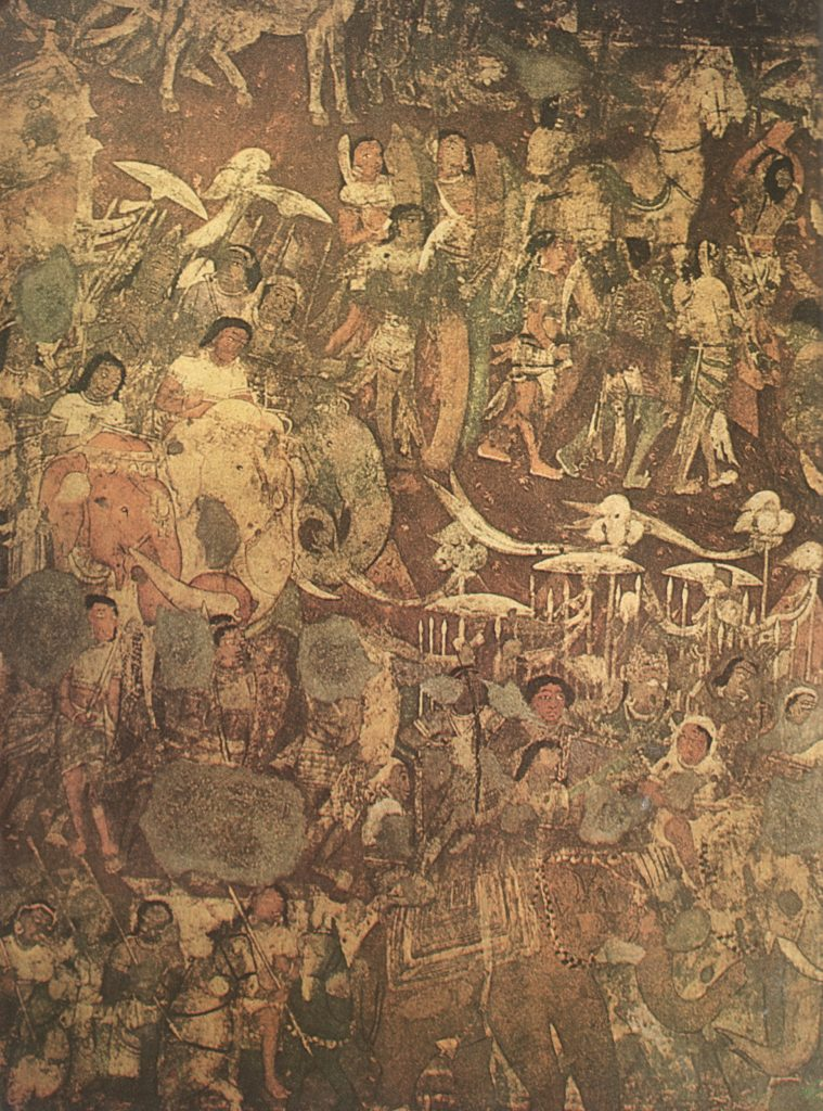 Mural at Ajanta in Cave No 17,depicts the 'coming of Sinhala'.The prince (Prince Vijaya) is seen in both of groups of elephants and riders