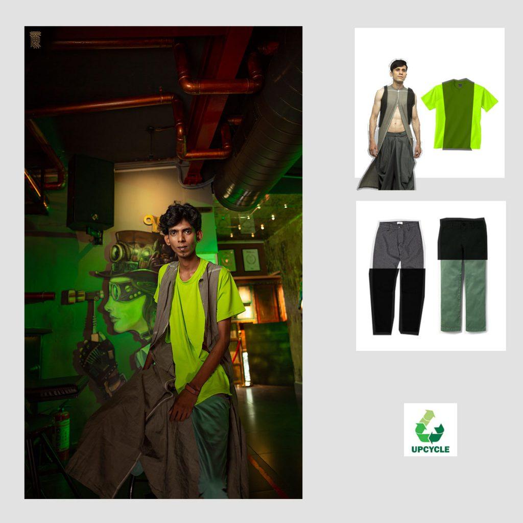 purushu arie upcycled gender neutral green kurta