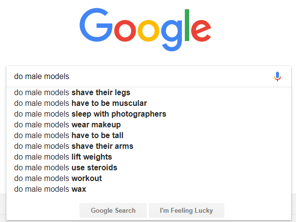 google search suggestions male models