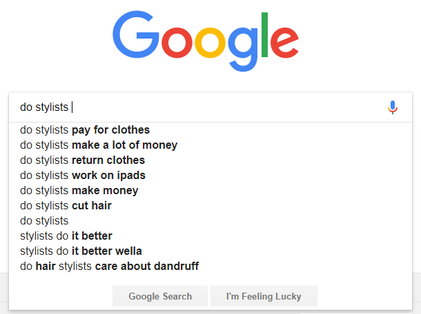 google search suggestions stylists