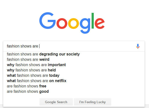 google search suggestions fashion shows