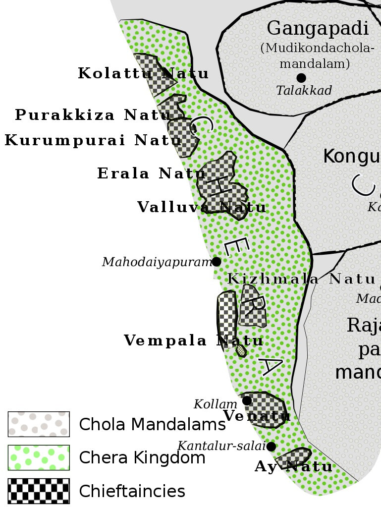Chera kingdom, chieftaincies, and Chola mandalams c. 11th century