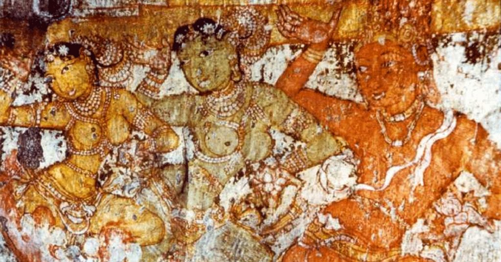 Chola Fresco of Dancing girls, Brihadisvara Temple, Thanjavur, 1100 CE