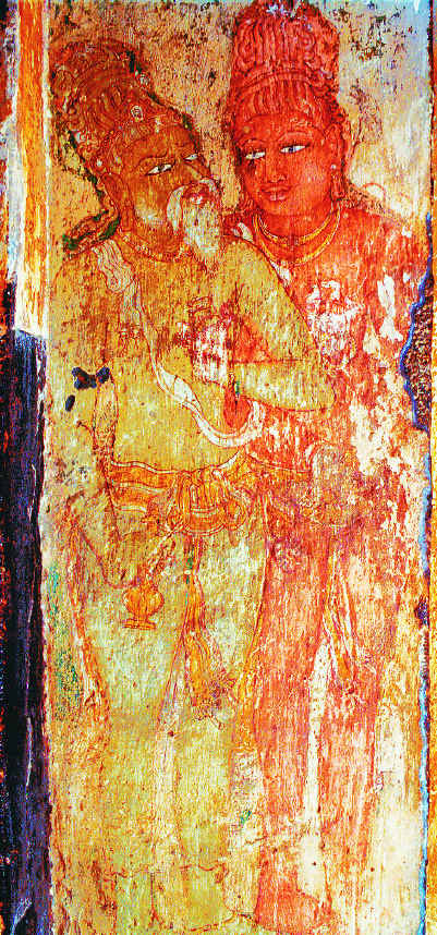 King Rajaraja Chola and guru (teacher) Karuvur Thevar, Brihadeesvara temple, Tamil Nadu, 11th century. This is the earliest royal portrait in Indian painting.