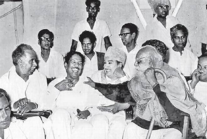 MGR with Periyar, Annadurai and M. Karunanidhi at a DMK meet in then Madras.