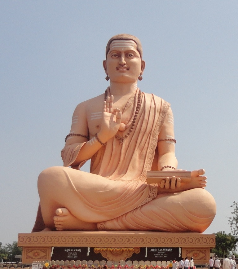 Basavanna, a 12th century Bhakti poet from Karnataka is widely regarded as the earliest anti-caste social-reformer. He rejected Brahminical priesthood and rituals as the medium to worship god and encouraged personalised & direct worship of Shiva, without gender, class or caste discrimination. The image depicts a 108 ft contemporary state of Basavanna, Karnataka.