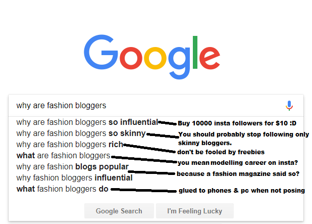 google search suggestions fashion bloggers
