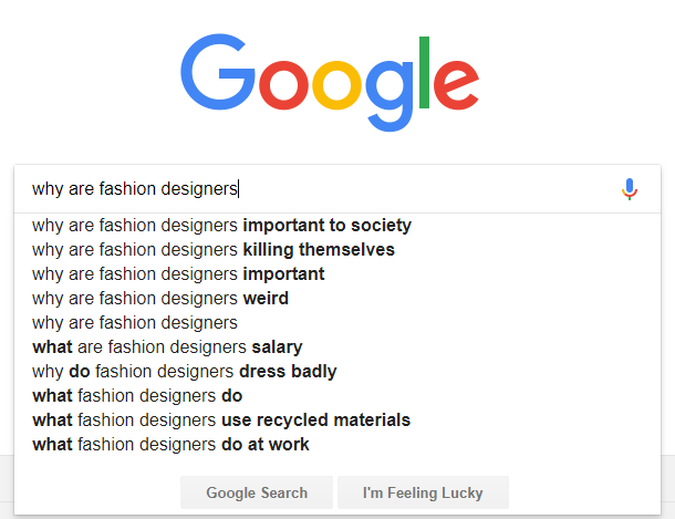 google search suggestions fashion designers