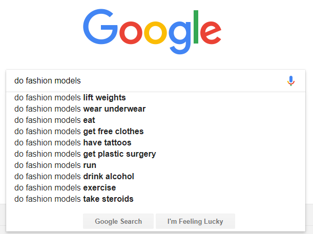 google search suggestions fashion models