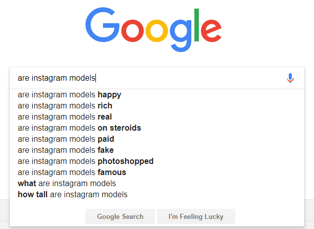 google search suggestions instagram models