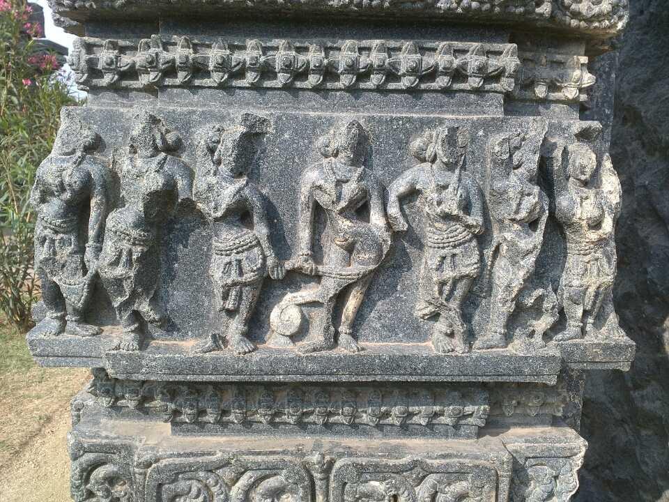 Panel depicting costumes in Kakatiya kingdom, Warangal Fort, 12th century CE