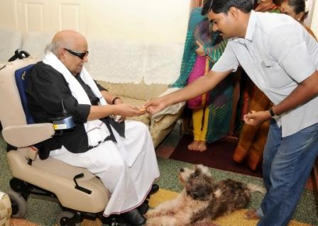 Kalaignar Karunanidhi in black shirt