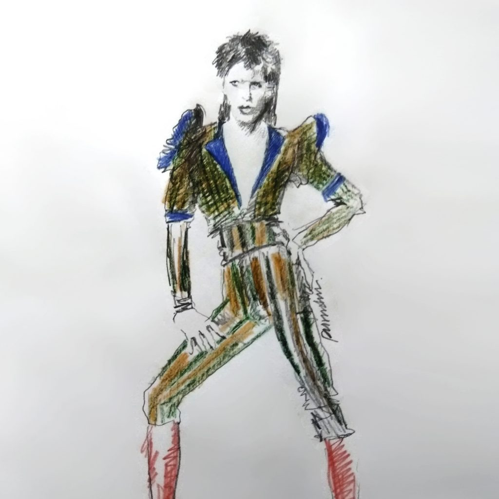 David Bowie fashion illustration by Purushu Arie