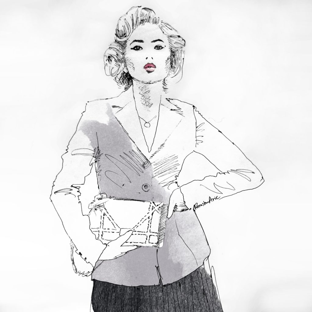 Big hair loud mouth Nilu fashion illustration by Purushu Arie