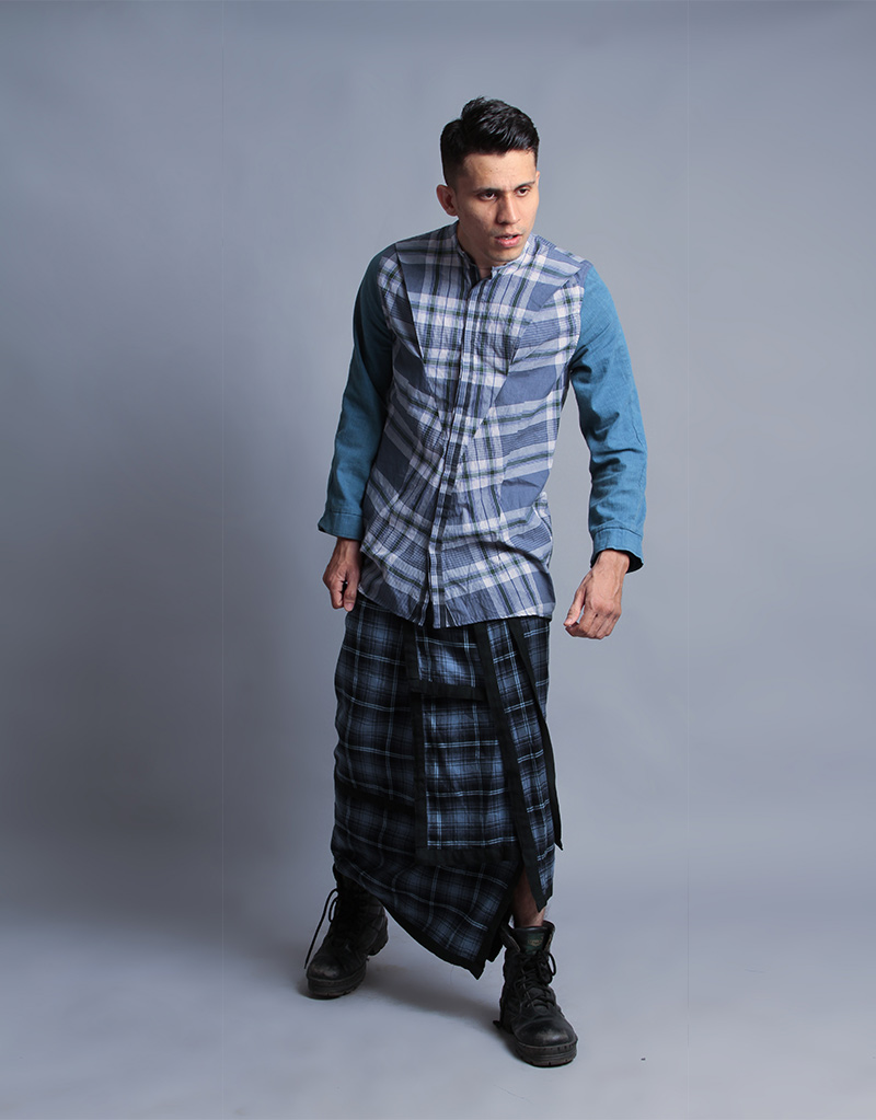 Madras Checks Lungi shirt by Purushu Arie
