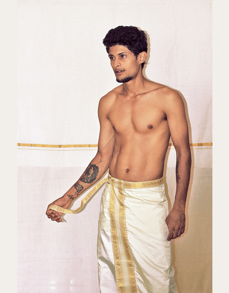 Tailored Silk Veshti by Purushu Arie